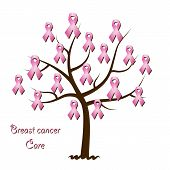 picture of causes cancer  - Breast cancer awareness tree isolated on white background - JPG