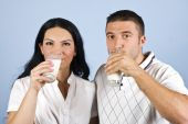 Young Couple Drinking Milk