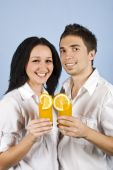 Couple Happiness Drink Orange Fresh