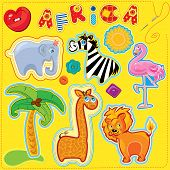 Set Of Buttons, Cartoon Animals And Word Africa - Hand Made Cutout Images And Letters - Picture For