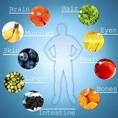 stock photo of pamelo  - Collage of the most useful foods for human - JPG