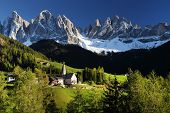 pic of italian alps  - Santa Maddalena village in front of the Geisler or Odle Dolomites Group - JPG