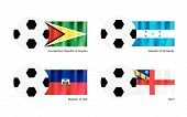 Soccer Ball With Guyana, Honduras, Haiti And Herm Flag