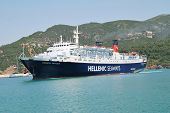 SKOPELOS, GREECE - JUNE 24, 2013: Hellenic Seaways ferry Express Pegasus arrives at Skopelos Town ha