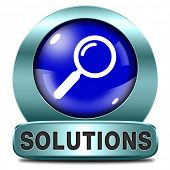 picture of solution problem  - solutions solve problems and search problem and find a solution blue magnifying glass icon button or sign - JPG