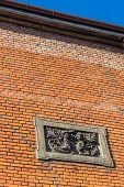 picture of tenement  - Architectural details on the wall of an ancient tenement in Gliwice - JPG