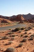 picture of valley fire  - Curved road through Valley of Fire State Park - JPG