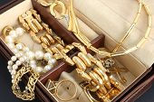 stock photo of tissue box  - Close up of jewelry box with jewelry - JPG