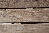 picture of wood pieces  - A genuine well used old walked on Wood Plank Board Walk - JPG