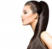 pic of ponytail  - Beauty Brunette Fashion Model Girl with Long Healthy Straight Brown Hair - JPG