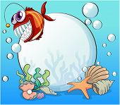 image of piranha  - Illustration of a big pearl and the smiling piranha under the sea - JPG