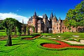 stock photo of fortified wall  - beautiful romantic holland castle de Haar - JPG