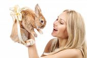 picture of rapture  - Closeup portrait of a pretty girl with a rabbit - JPG
