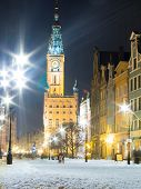 Gdansk, Poland - February 1: City Hall Old Town Gdansk Poland Europe. Winter Night Scenery.