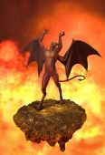 stock photo of hade  - An angry devil rages in Hell  - JPG