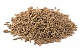 image of cumin  - Heap of whole cumin seeds isolated on white - JPG