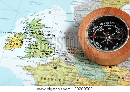 Travel Destination United Kingdom And Ireland, Map With Compass