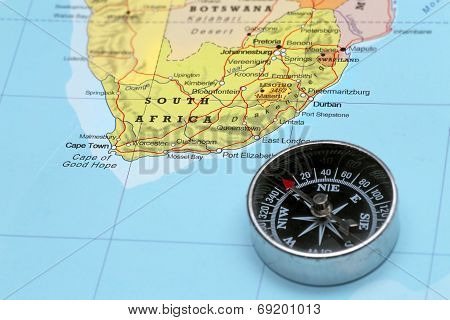 Travel Destination South Africa, Map With Compass