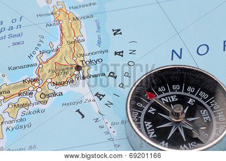 Travel Destination Tokyo Japan, Map With Compass