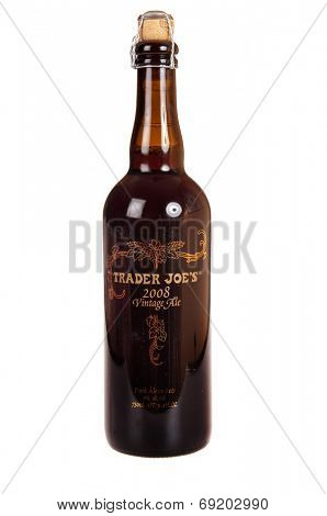 Hayward, CA - July 27, 2014: 750ml bottle of Trader Joe's brand 2008 vintage ale