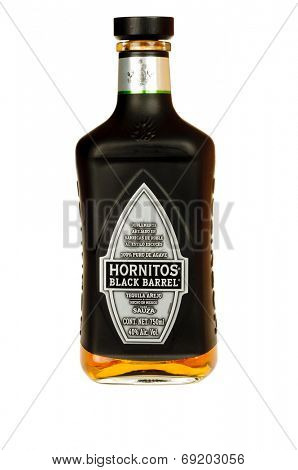 Hayward, CA - July 28, 2014: 750 ml bottle of Hornitos Black barrel anejo Tequila from Mexico