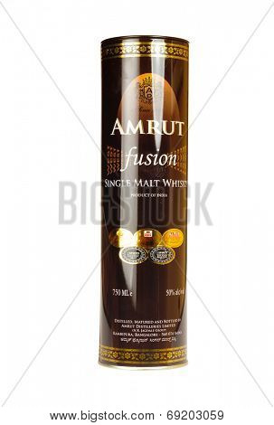 Hayward, CA - July 28, 2014: 750 ml bottle in container of AMRUT Fusion single malt whisky made in India by the Amrut Distilleries LTD., Bangalore, India