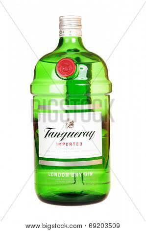 Hayward, CA - July 28, 2014: 1.75 liter bottle of Tanqueray Gin.
