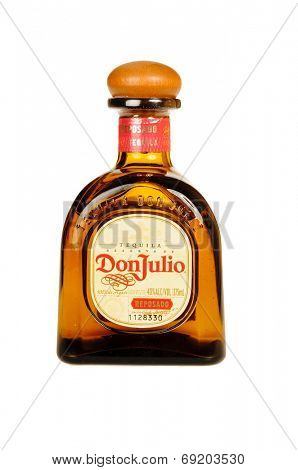 Hayward, CA - July 28, 2014: 750 ml bottle of Don Julio  Reservade Tequila, 100% from Agave, limited production