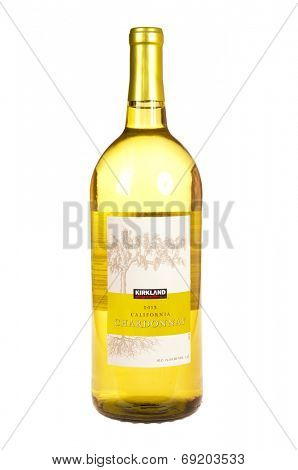Hayward, CA - July 27, 2014: 1 liter bottle of Kirkland brand 2013 California Chardonnay