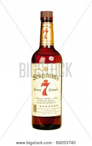 Hayward, CA - July 28, 2014: 750ml bottle of Seagrams Seven Crown American Whiskey