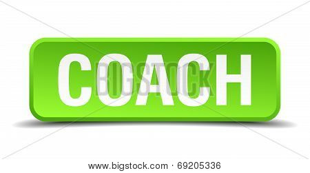 Coach Green 3D Realistic Square Isolated Button