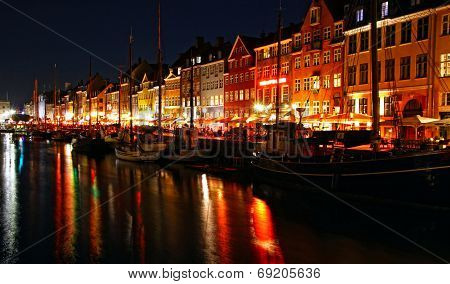 Nyhavn Harbor In Night, Copenhagen, Denmark