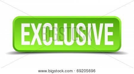 Exclusive Green 3D Realistic Square Isolated Button