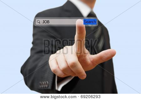 Businessman Touching An Job Search Bar. Find Job Over Internet Concept