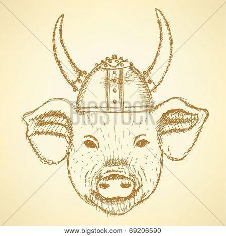 Sketch Pig In The Viking Helmet