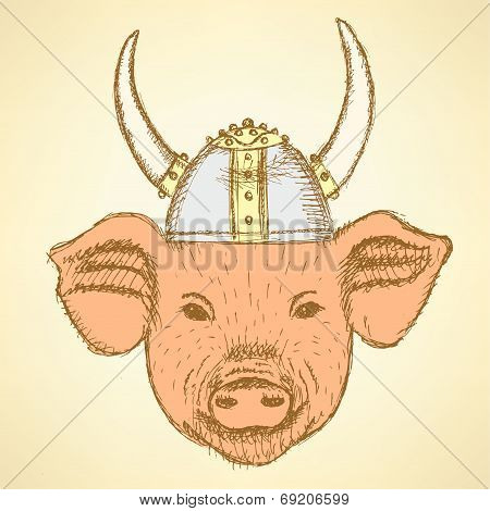 Sketch Pig In The Viking Helmet