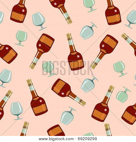 seamless pattern bottles ?ognac and glasses