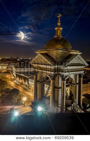View From The Colonnade Of St Isaac's Cathedral In St. Petersburg