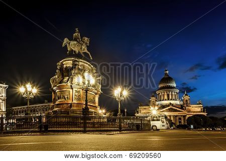 View Of Monument To Emperor  Nicholas And St Isaac's Cathedral  In St.-petersburg
