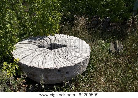Old Millstone To Grind Grains Of Wheat Into Flour