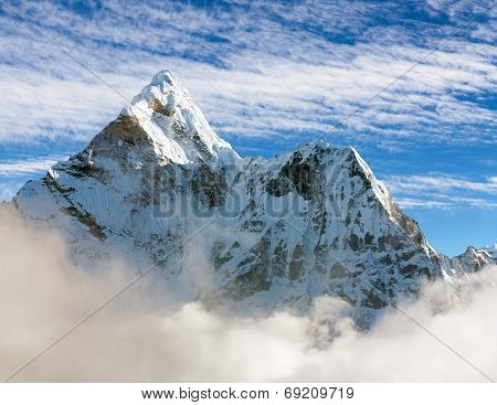 Beautiful View Of Ama Dablam With And Beautiful Clouds - Sagarmatha National Park - Khumbu Valley -
