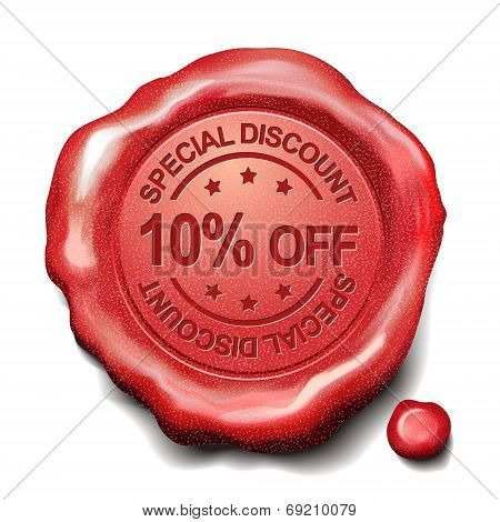 10 Percent Off Red Wax Seal