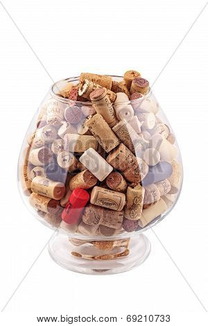 Stack of wine corks isolated on white