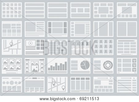 Website Flowcharts, Layouts Of Tabs, Infographics