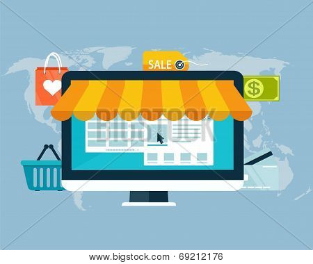 Concept Of Online Shopping By Electronic Funds