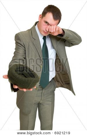Businessman Moocherwith Hat Asks For Money