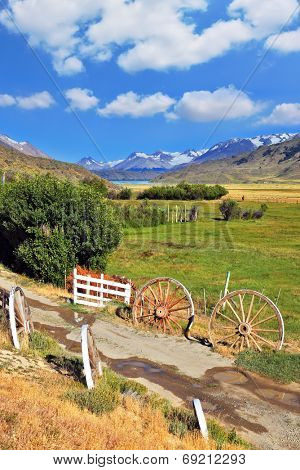 The access road to the hospitable estancia. Argentine Patagonia, Perito Moreno National Park
