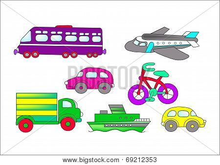 various transport by land, air, water