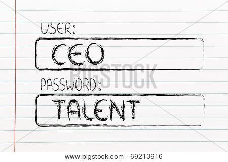 User Ceo, Password Talent