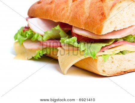 Half Of Long Baguette Sandwich